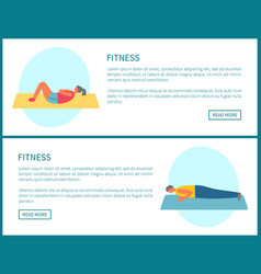 fitness crunches and plank exercises in gym set vector image