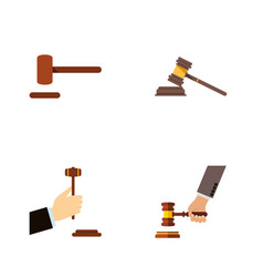 Flat icon lawyer set of law crime court and vector