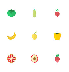 flat icons turnip litchi pumpkin and other vector image