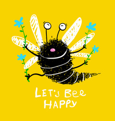 Flying bee happy holding flowers vector