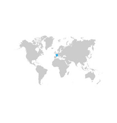 france map is highlighted in blue on world map vector image