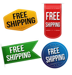 free shipping sticker or label set vector image