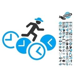 Gentleman Running Over Clocks Flat Icon vector