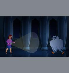 Ghost escape room concept banner cartoon style vector
