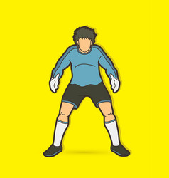 Goalkeeper standing action soccer player graphic vector