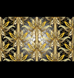 gold baroque floral 3d seamless pattern vector image