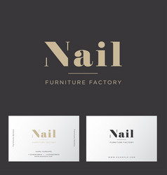 Gold letters furniture factory business card vector