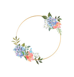 Gold wreath with a blooming blue hydrangea vector