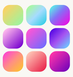 gradient holographic button set trendy soft vector image