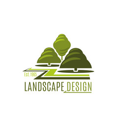 Green trees garden landscape design icon vector