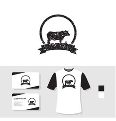 Grunge cow logo design with business card and t vector