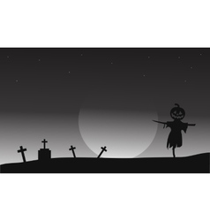 Halloween scarecrow in tomb vector image