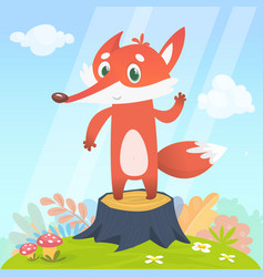 Happy cartoon fox character vector