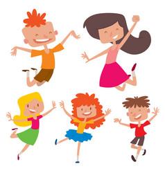 happy children in different positions big vector image