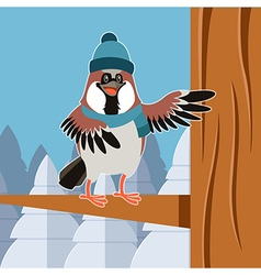 happy sparrow with hat on tree flat background vector image