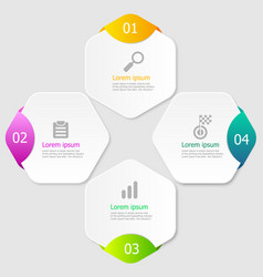 hexagon infographic elements layout 4 steps vector image