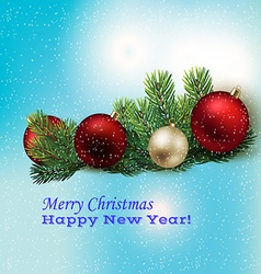 Holyday background with Christmas toys and spruce vector image