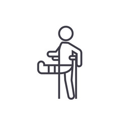 man with broken leggypsum foot crutch line vector image