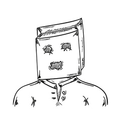 man with paper bag on his head vector image