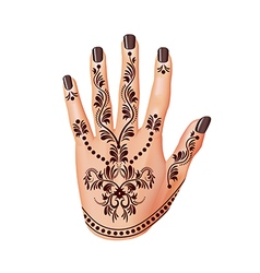 Mehendi on woman hand isolated vector