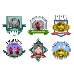 Mma fighting emblems labels set vector