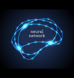 Neural network logo with human luminescent brain vector