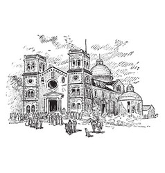 Old church vintage vector