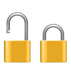 open lock metal lock 3d realistic security vector image