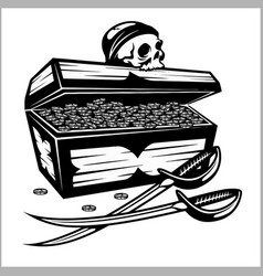 Open pirate chest with golden coins and skull vector