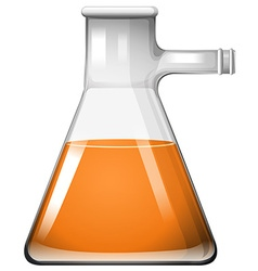 Orange liquid in glass beaker vector image