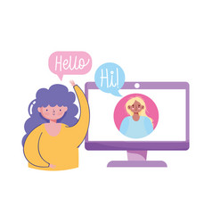 People creativity and technologygirls computer vector