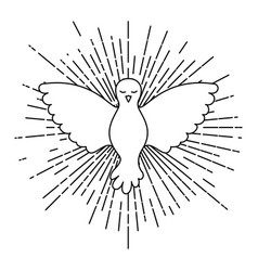 pigeon peace symbol front view with linear vector image