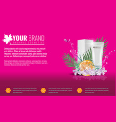 pink cosmetics product ads poster template with vector image