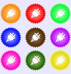 plug icon sign A set of nine different colored vector image