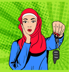 Pop art muslim woman with keys vector