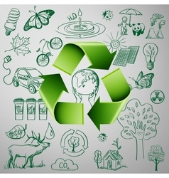 Recycle Symbol and Ecology doodle icons vector image