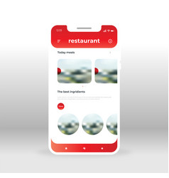 Red restaurant ui ux gui screen for mobile apps vector