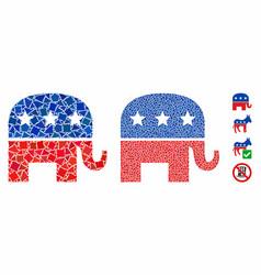republican elephant mosaic icon bumpy pieces vector image
