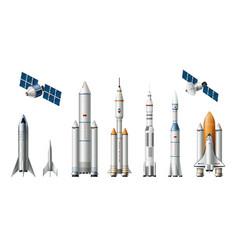 Rocket spacecrafts realistic set vector