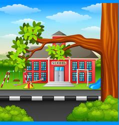 Scene school building and tree branch vector