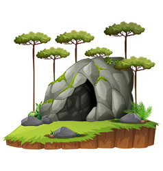 Scene with cave and trees vector