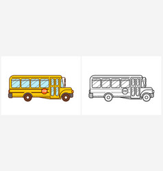 school bus coloring book yellow bus vector image