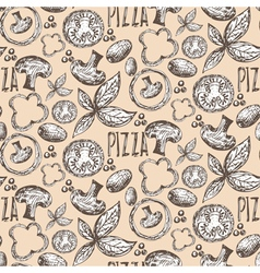 Seamless pattern hand drawn delicious pizza with vector
