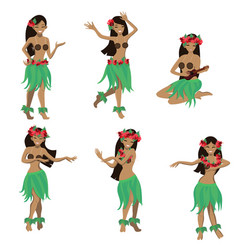 Set girl in dance and sing with ukulele vector
