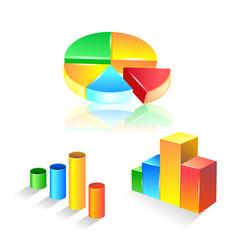 set graphic chart icon set vector image