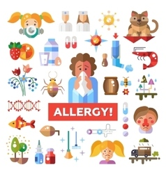 Set of flat design allergy and allergen icons vector image