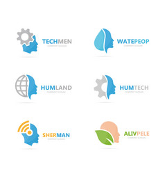 set of people logo combination body and face vector image