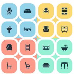 set simple furnishings vector image