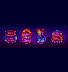 sex shop set logos in neon style neon sign vector image