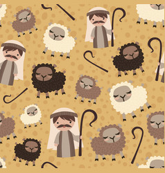 shepherd with sheep nativity christian vector image